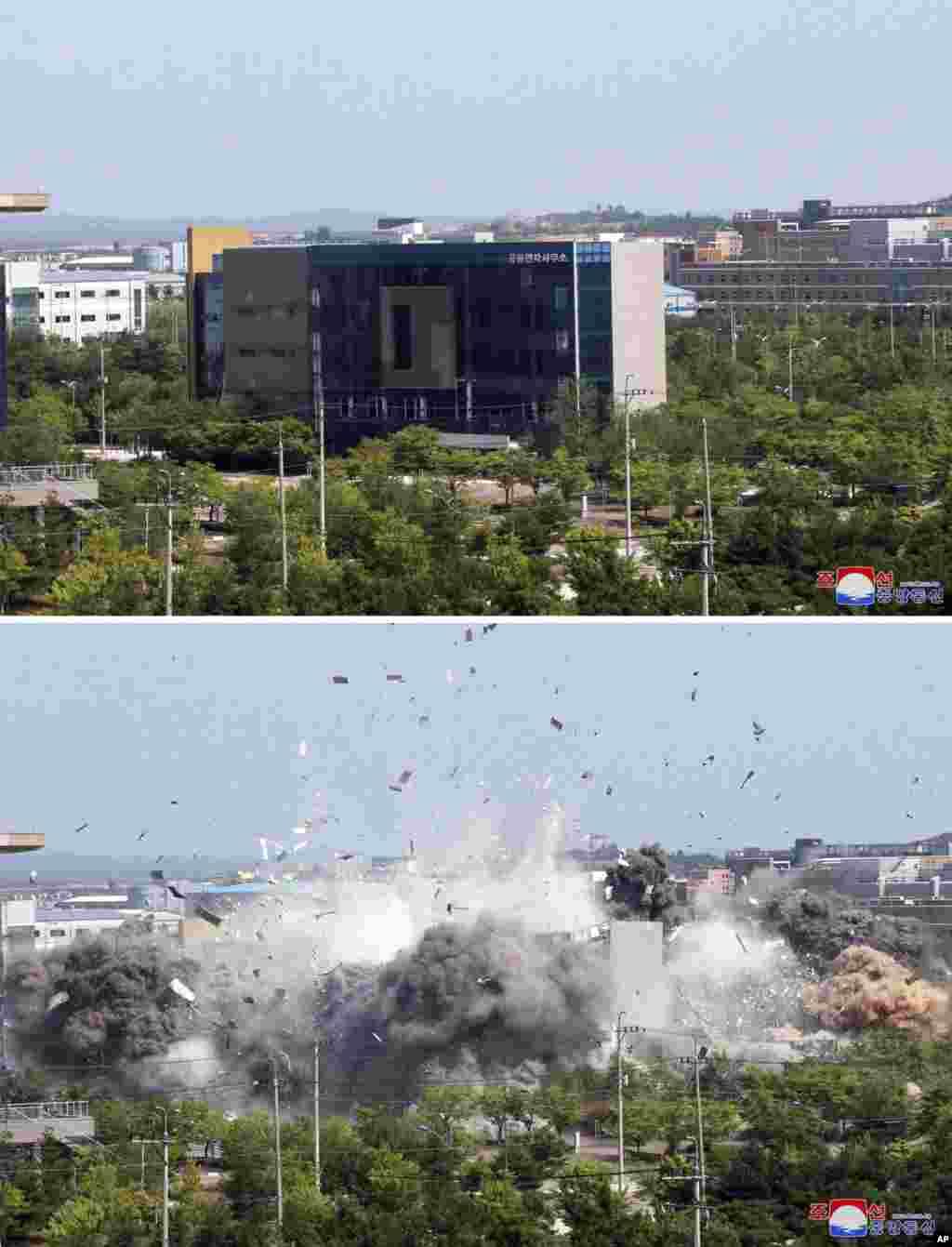 ေျမာက္ကိုရီးယားႏိုင္ငံ Kaesong ၿမိဳ႕ရွိ ဆက္ဆံေရး႐ုံး ေဖာက္ခဲြဖ်က္ဆီးခံရတဲ့ ျမင္ကြင္း။ (ဇြန္ ၁၆၊ ၂၀၂၀)