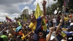 Сторонники Энрике Каприлеса. Каракас, Венисуэла, 30 сентября 2012г.