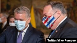 美国国务卿蓬佩奥(右)与哥伦比亚总统伊万·杜克(2020年9月19日 国务卿蓬佩奥推特照片 @SecPompeo)