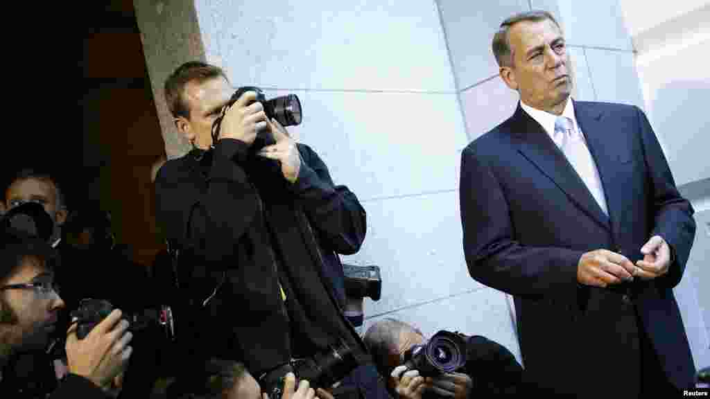 U.S. House Speaker John Boehner (R-OH) as he appears before reporters at the U.S. Capitol.