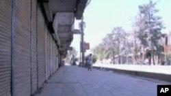 تصویری از شهر قندهار که به روز یکشنبه نیز دکانها و بازار های تجارتی آن به خاطر مظاهرات مسدود بودند.