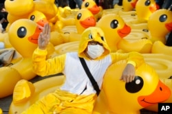 A protester flashes the three-finger protest gesture while wearing an outfit of a yellow duck, which has become a good-humored symbol of resistance during anti-government rallies, Wednesday, Nov. 25, 2020, in Bangkok, Thailand.