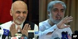 参加阿富汗总统决选的两名候选人,阿卜杜拉(右)与加尼近期分别在记者会上