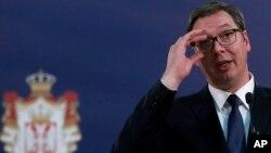 Arhiva - Predsednik Srbije Aleksandar Vučić, 31. januara 2020. (AP Photo/Darko Vojinovic)