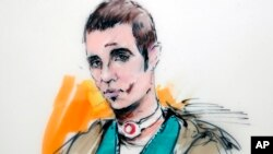Ilustración de Paul Ciancia durante la audiencia ante un juez que le negó la fianza.