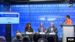 Panelists (L to R): Dr. Menna Demessie, Dr. Sylvester Okere, and Nii Akuetteh with Moderator Ndimyake Mwakalyelye