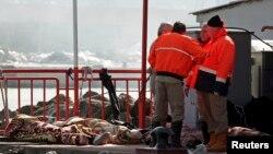 Rescatistas conversan junto a los cadáveres de los inmigrantes indocumentados que fallecieron al volcarse el bote en que viajaban frente a las costas de Turquía.
