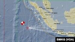 Peta lokasi pusat gempa di Mentawai Maret 2016. (Courtesy BMKG)