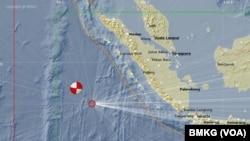 Peta Lokasi Pusat Gempa di Mentawai (Courtesy BMKG)