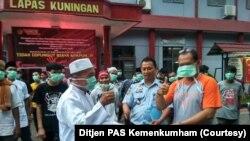 Pembebasan di Lapas Kuningan, Jawa Barat. (Foto: Ditjen PAS Kemenkumham)
