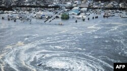 Воронка цунами у берегов Японии