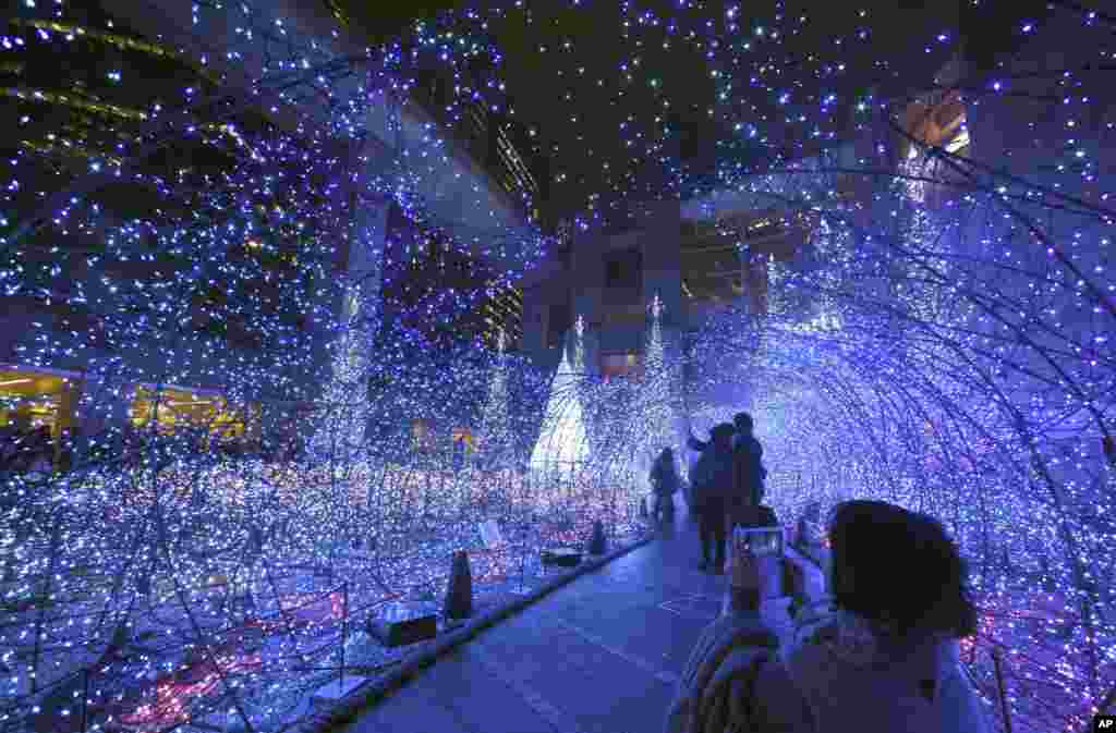 """A visitor takes a photo in a tunnel of lights as people admire the seasonal illumination displays """"Canyon d'Azur"""" in Tokyo's Shiodome business district."""