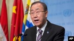 반기문 유엔 사무총장이 지난 6일 북한 핵실험 대응방안 논의를 위한 유엔 안보리 긴급회의 참석에 앞서 기자회견을 하고 있다.