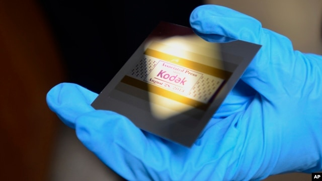 An example of what a piece of silicon looks like with Kodak print inhibiting ink at Kodak research labs in Rochester, New York,  Aug. 28, 2013.