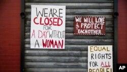 """Algunos locales comerciales decidieron cerrar sus puertas en solidaridad con la protesta """"Un día sin mujeres""""."""