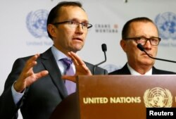 United Nations Special Adviser on Cyprus Espen Barth Eide, left, and U.N. Under-Secretary-General for Political Affairs Jeffrey Feltman attend a news conference at the peace talks on divided Cyprus in the alpine resort of Crans-Montana, Switzerland, June 28, 2017.