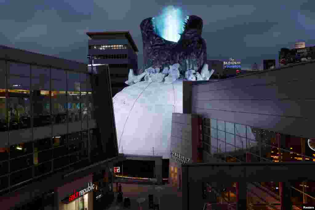 "A prop promoting the film ""Godzilla: King of the Monsters"" is pictured on the roof of the Cinerama Dome theatre in Los Angeles, California, June 3, 2019."
