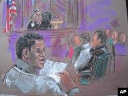 Dessin d'artiste d'Ahmed Ghailani durant l'ouverture de son procès en octobre 2010, à New York