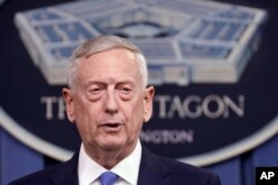 FILE - Defense Secretary Jim Mattis speaks at the Pentagon.