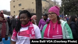 Sidney Walker and her friend Catie Dietz at the Women's March in Washington, DC Jan. 21, 2017