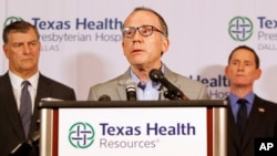 Texas Health Resources Chief Clinical Officer Dr. Daniel Varga speaks to reporters in Dallas on October12th.