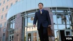 律師梁志毅經常進出的高等法院(美國之音國符拍攝)