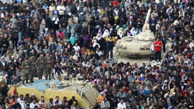 Anti-government protesters, and Egyptian Army soldiers on top of their vehicles, make traditional Muslim Friday prayers at the continuing demonstration in Tahrir Square in downtown Cairo, February 11, 2011