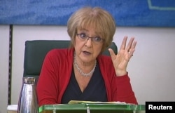 FILE - British parliamentary Public Accounts Committee chair Margaret Hodge speaks in London, May 16, 2013.