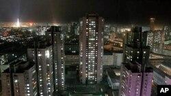 2005년 북한 평양시 야경
