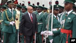 FILE - South Africa's President, Jacob Zuma, visits the Presidential Palace in Abuja, Nigeria, March. 8, 2016.