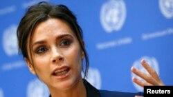 Victoria Beckham berbicara dalam konferensi pers di markas besar PBB di New York (24/9). (Reuters/Shannon Stapleton)