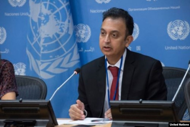 FILE - Javaid Rehman, U.N. special rapporteur on human rights in Iran, briefs journalists at U.N. headquarters in New York, Oct. 24, 2018.