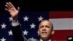 26일 마이애미 비치에서 선거자금 모금 연설을 하는 바락 오바마 미 대통령.