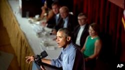 바락 오바마 미국 대통령이 7일 노동절 조찬회에서 연설하고 있다.