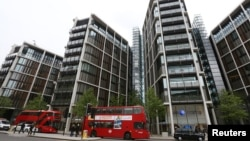 FILE - Luxury apartment complex One Hyde Park is seen London, May 2, 2014. Anti-corruption campaigners see it as a landmark to Britain's hypocritical role in offshore finance.