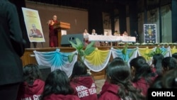 His Holiness the Dalai Lama speaking at Jesus & Mary College in New Delhi