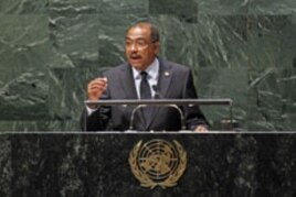 Michel Sidibé, Executive Director of UNAIDS, addresses diplomats in the United Nations General Assembly for the high-level UN conference on the global AIDS response, at UN Headquarters in New York, June 8, 2011