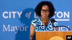 FILE - Boston's acting Mayor Kim Janey speaks during a news conference at City Hall in Boston, Aug. 12, 2021.