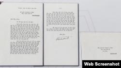 Thư của Chủ tịch Hồ Chí Minh gửi Tổng thống Mỹ Richard Nixon ngày 25/8/1969. Photo VOV