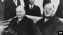 胡佛总统(左)与罗斯福总统在后者就职典礼的当天