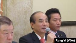 台湾立法院长王金平(中)谈国会外交成果