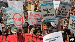 Demonstrators in South Africa in 2011 protest a measure to restriction informational freedom.