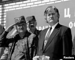 Ratko Mladic i Radovan Karadžić u Banjaluci, 26. juni 1995. godine
