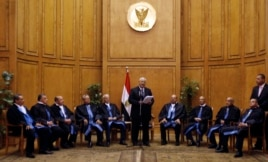 Adly Mansour (C), Egypt's chief justice and head of the Supreme Constitutional Court, speaks at his swearing in ceremony as the nation's interim president in Cairo, July 4, 2013.