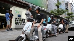 Gogoro electric scooters shown in Taipei, Taiwan this year.