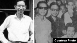 Nhà báo Chu Tử Chu Văn Bình, hình bên trái, chụp hồi làm chủ nhiệm nhật báo Sống, Saigòn, trước khi bị bắn. (Ảnh Internet). Phải, sau một tuần nằm bệnh viện sau khi bị bắn, ông Chu Tử, tay cầm khăn che miệng đứng sau nhà văn Duyên Anh (ngồi) và giữa nhà văn Nguyễn Thụy Long (áo đen bên trái) và nhà thơ trào phúng Tú Kếu (có râu cằm, bên phải), đến thăm anh chị em biên tập tại toà sọan báo Sống ngày 22 tháng 4, 1966. (Ảnh trích Chu Tử không hận thù, Sống, 1966).