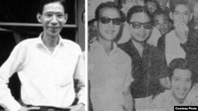 Nhà báo Chu Tử Chu Văn Bình, hình bên trái, chụp hồi làm chủ nhiệm nhật báo Sống, Sài Gòn, trước khi bị bắn. Phải, sau một tuần nằm bệnh viện sau khi bị bắn, ông Chu Tử, tay cầm khăn che miệng đứng sau nhà văn Duyên Anh (ngồi) và giữa nhà văn Nguyễn Thụy