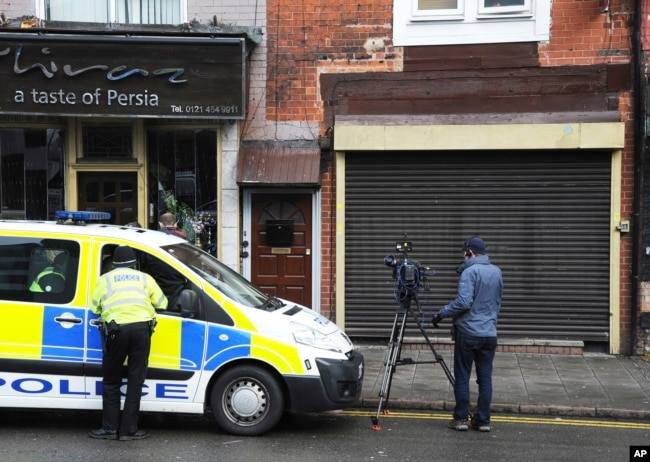 A property in Birmingham, England, was searched by police following Wednesday's London attack, March 23, 2017.