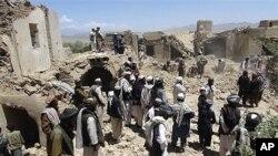 خانه های ویران در قریه برکی برک ولایت لوگر که هدف بمباردمان هوایی ناتو قرار گرفت