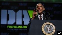 1일 미국 애틀랜타에서 진행된 전미 장애군인대회에서 연설하고 있는 바락 오바마 대통령.